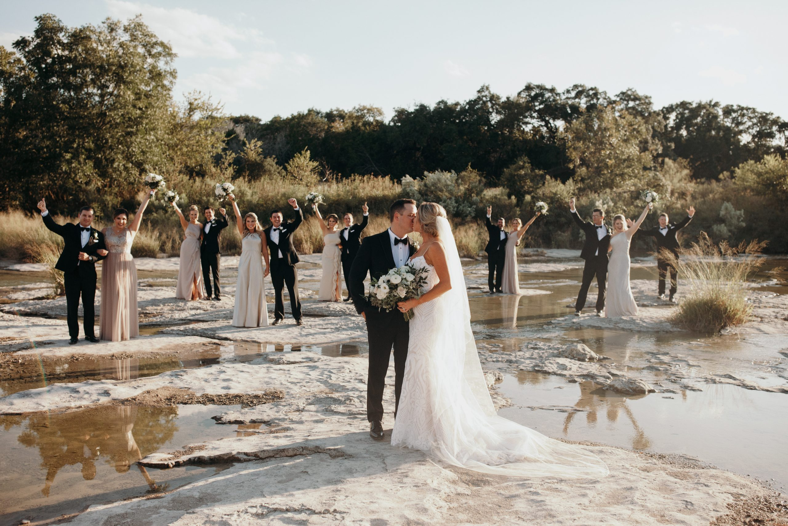Fun Bridal Party on The Pedernales River